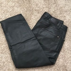 Zara Brown Leather Pants with Gold button- Size 6